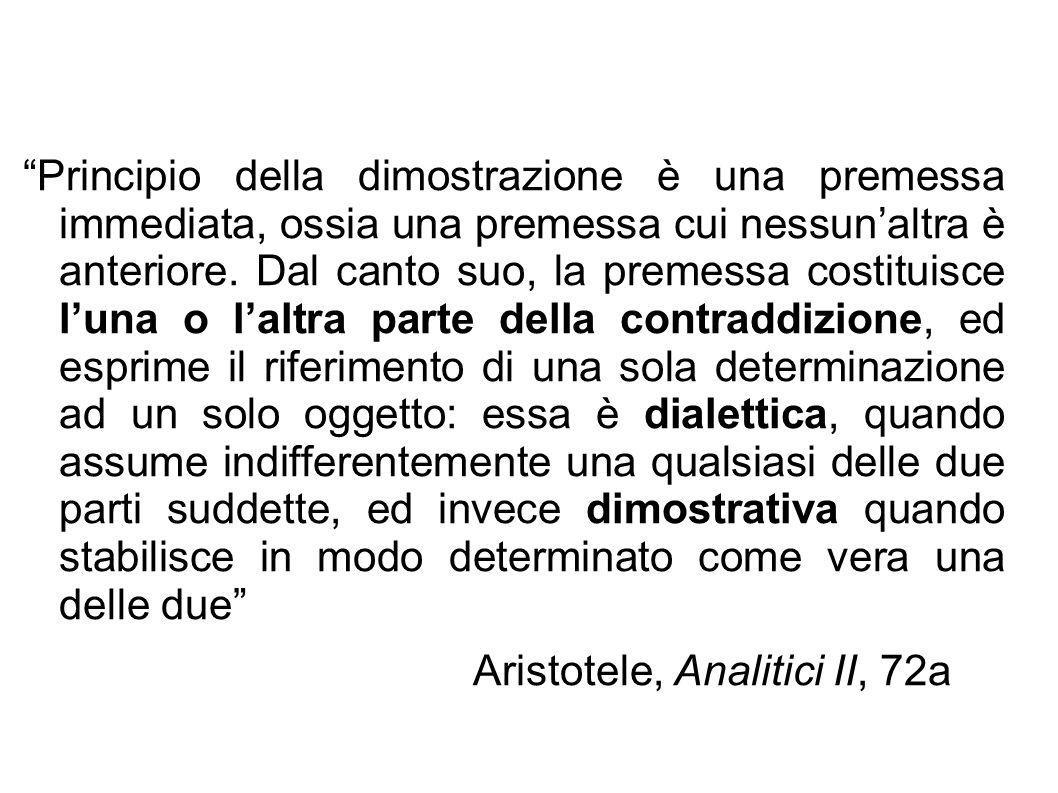 """""""Principio della dimostrazione è una premessa immediata, ossia una premessa cui nessun'altra è anteriore. Dal canto suo, la premessa costituisce l'una"""