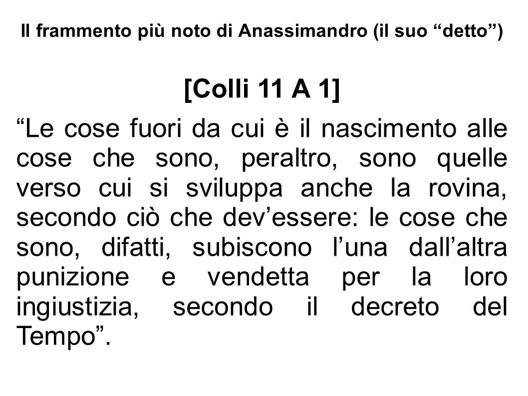 """Il frammento più noto di Anassimandro (il suo """"detto"""") [Colli 11 A 1] """"Le cose fuori da cui è il nascimento alle cose che sono, peraltro, sono quelle"""