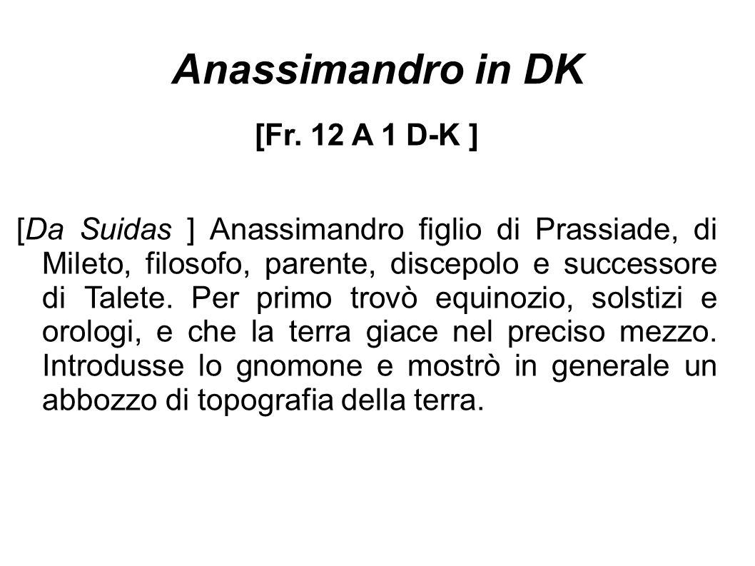 Anassimandro in DK [Fr. 12 A 1 D-K ] [Da Suidas ] Anassimandro figlio di Prassiade, di Mileto, filosofo, parente, discepolo e successore di Talete. Pe