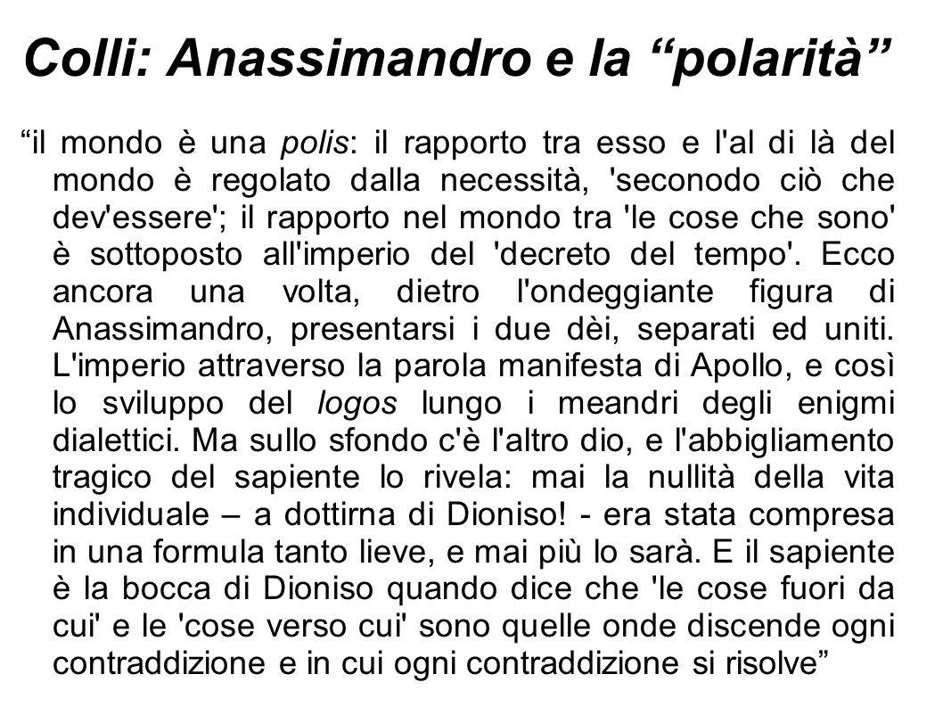 """Colli: Anassimandro e la """"polarità"""" """"il mondo è una polis: il rapporto tra esso e l'al di là del mondo è regolato dalla necessità, 'seconodo ciò che d"""