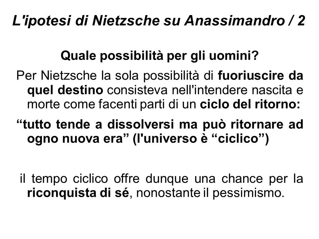L'ipotesi di Nietzsche su Anassimandro / 2 Quale possibilità per gli uomini? Per Nietzsche la sola possibilità di fuoriuscire da quel destino consiste
