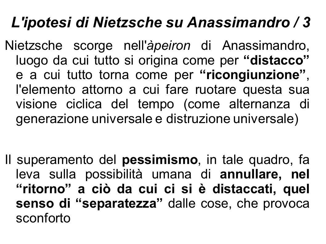 """L'ipotesi di Nietzsche su Anassimandro / 3 Nietzsche scorge nell'àpeiron di Anassimandro, luogo da cui tutto si origina come per """"distacco"""" e a cui tu"""