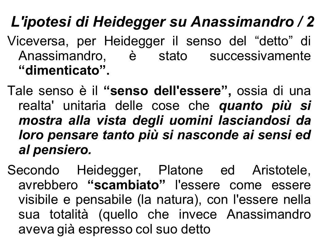 """L'ipotesi di Heidegger su Anassimandro / 2 Viceversa, per Heidegger il senso del """"detto"""" di Anassimandro, è stato successivamente """"dimenticato"""". Tale"""