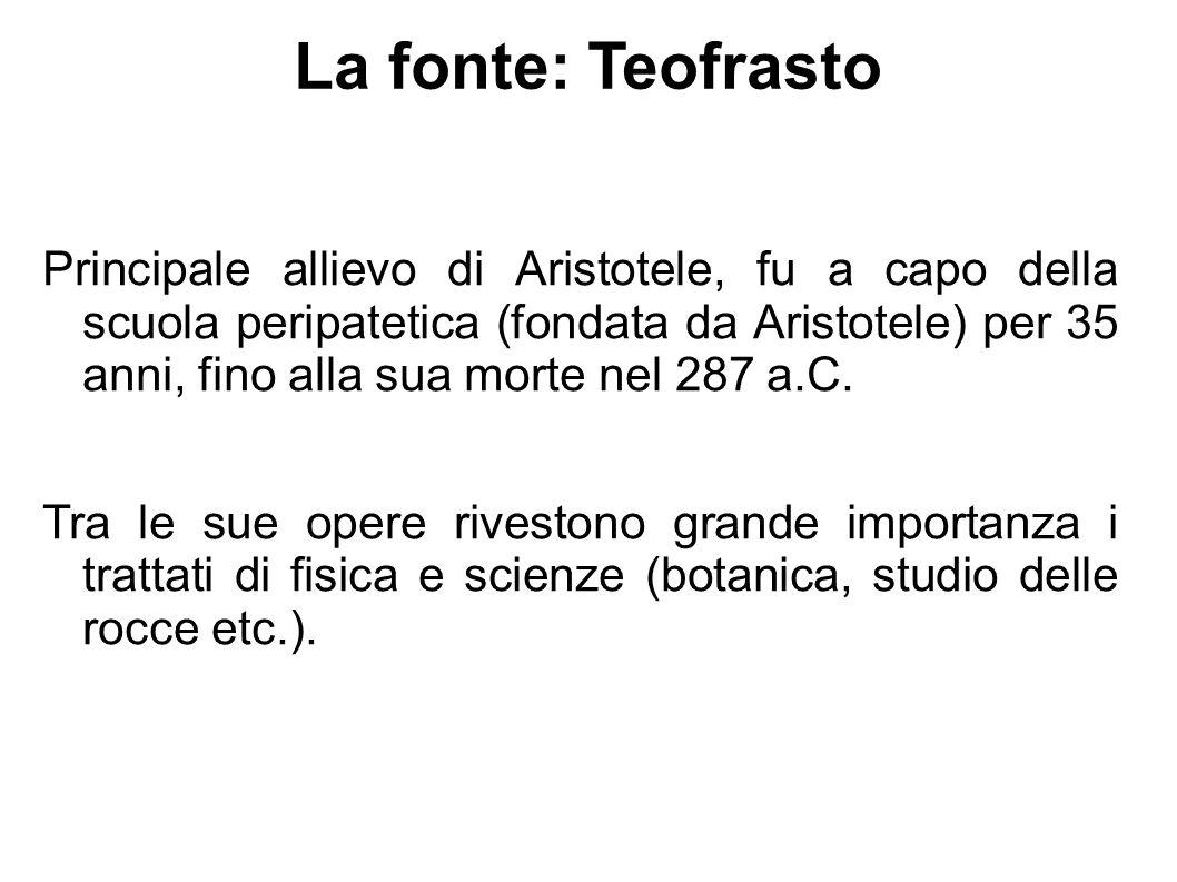 La fonte: Teofrasto Principale allievo di Aristotele, fu a capo della scuola peripatetica (fondata da Aristotele) per 35 anni, fino alla sua morte nel