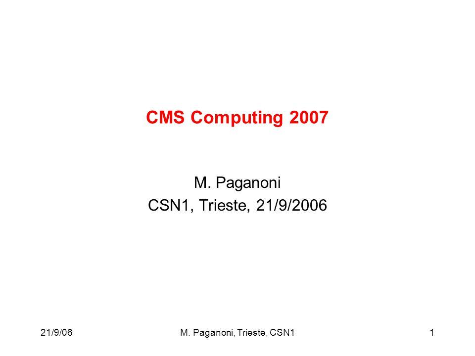 21/9/06M. Paganoni, Trieste, CSN11 CMS Computing 2007 M. Paganoni CSN1, Trieste, 21/9/2006