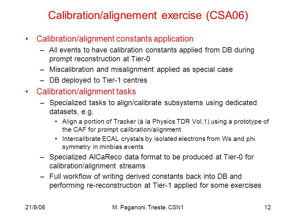 21/9/06M. Paganoni, Trieste, CSN112 Calibration/alignement exercise (CSA06) Calibration/alignment constants application –All events to have calibratio
