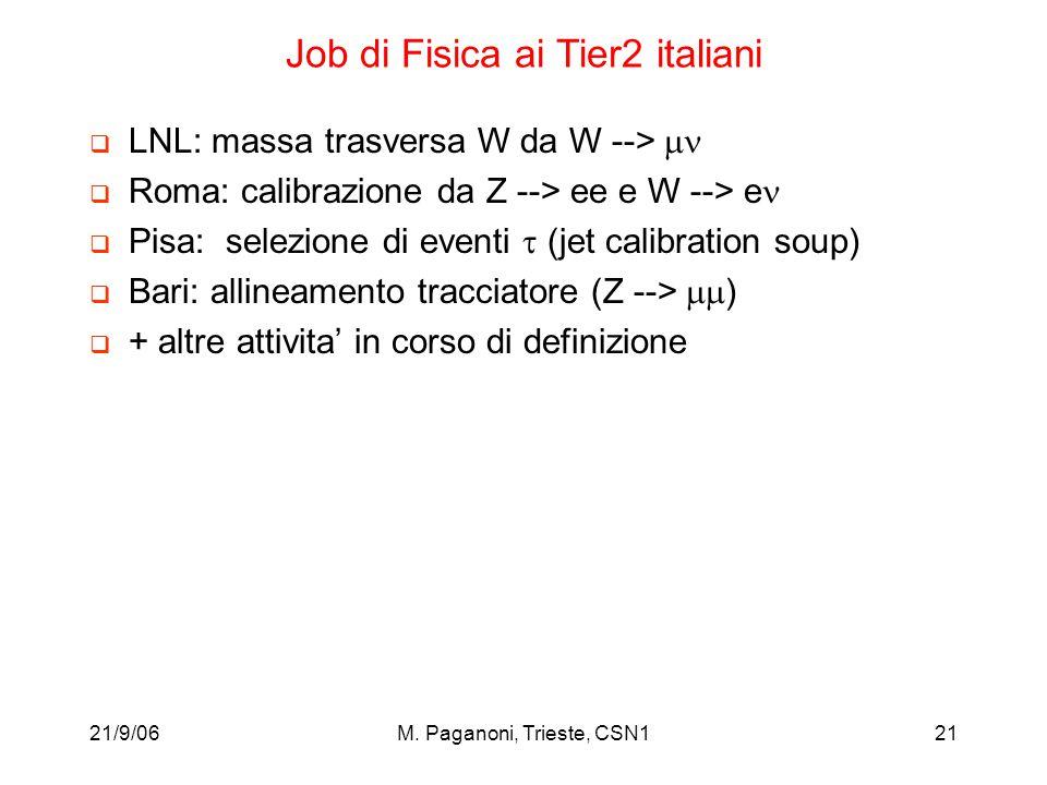 21/9/06M. Paganoni, Trieste, CSN121 Job di Fisica ai Tier2 italiani  LNL: massa trasversa W da W -->   Roma: calibrazione da Z --> ee e W --> e  P