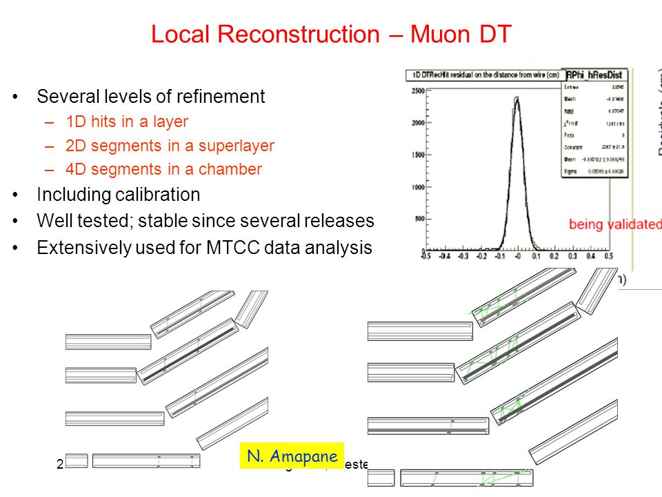 21/9/06M. Paganoni, Trieste, CSN127 Local Reconstruction – Muon DT Several levels of refinement –1D hits in a layer –2D segments in a superlayer –4D s