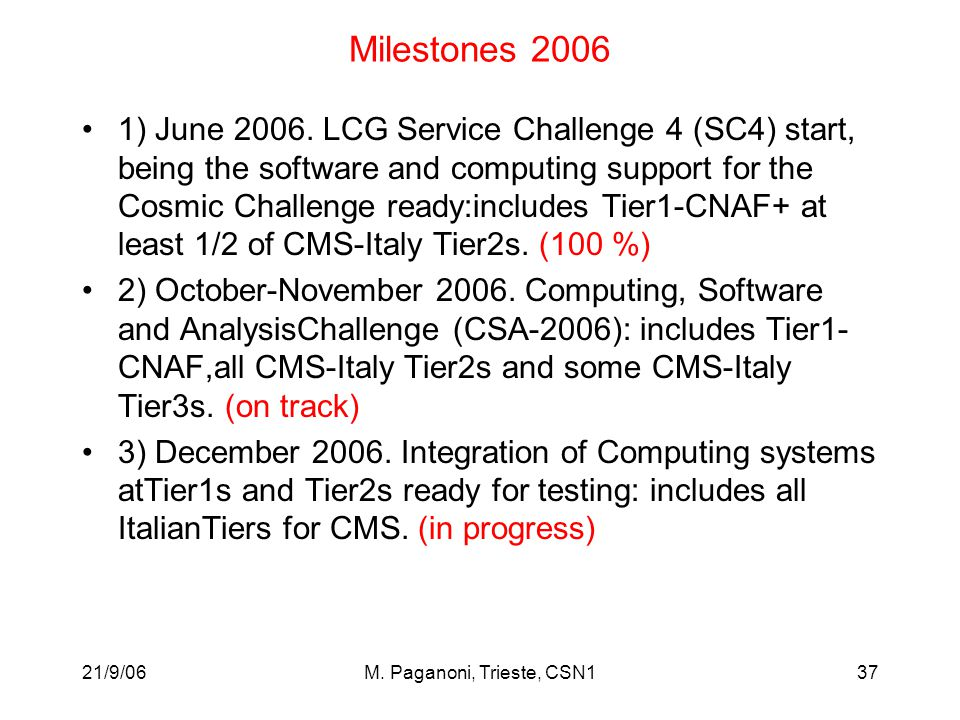 21/9/06M. Paganoni, Trieste, CSN137 Milestones 2006 1) June 2006. LCG Service Challenge 4 (SC4) start, being the software and computing support for th