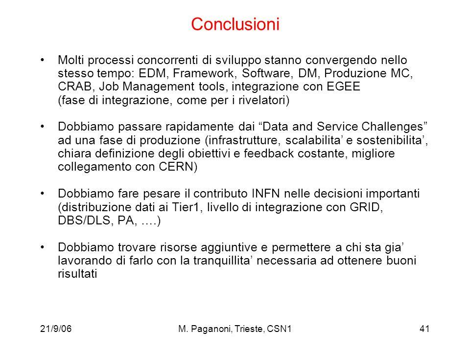21/9/06M. Paganoni, Trieste, CSN141 Conclusioni Molti processi concorrenti di sviluppo stanno convergendo nello stesso tempo: EDM, Framework, Software