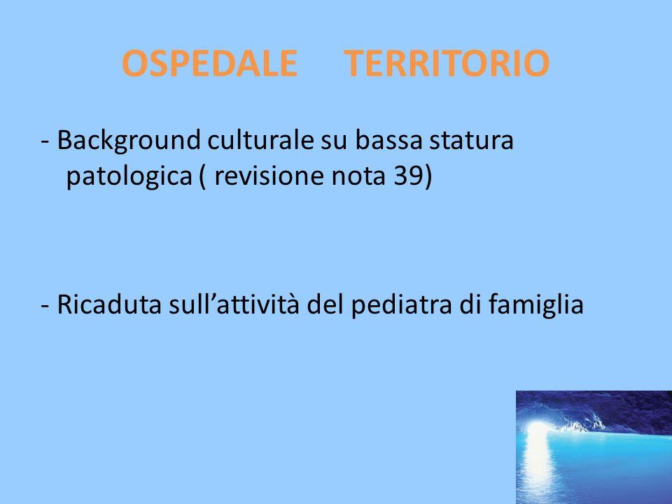 OSPEDALE TERRITORIO - Background culturale su bassa statura patologica ( revisione nota 39) - Ricaduta sull'attività del pediatra di famiglia
