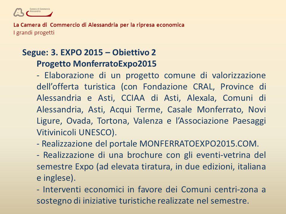 La Camera di Commercio di Alessandria per la ripresa economica I grandi progetti Segue: 3. EXPO 2015 – Obiettivo 2 Progetto MonferratoExpo2015 - Elabo