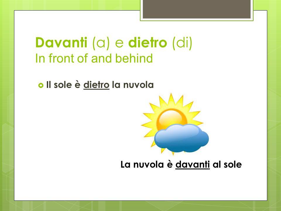 Davanti (a) e dietro (di) In front of and behind  Il sole è dietro la nuvola La nuvola è davanti al sole