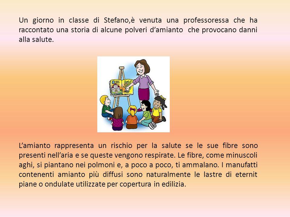 Un giorno in classe di Stefano,è venuta una professoressa che ha raccontato una storia di alcune polveri d'amianto che provocano danni alla salute.