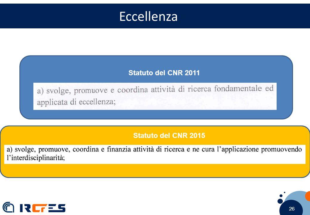 26 Eccellenza Statuto del CNR 2011 Statuto del CNR 2015