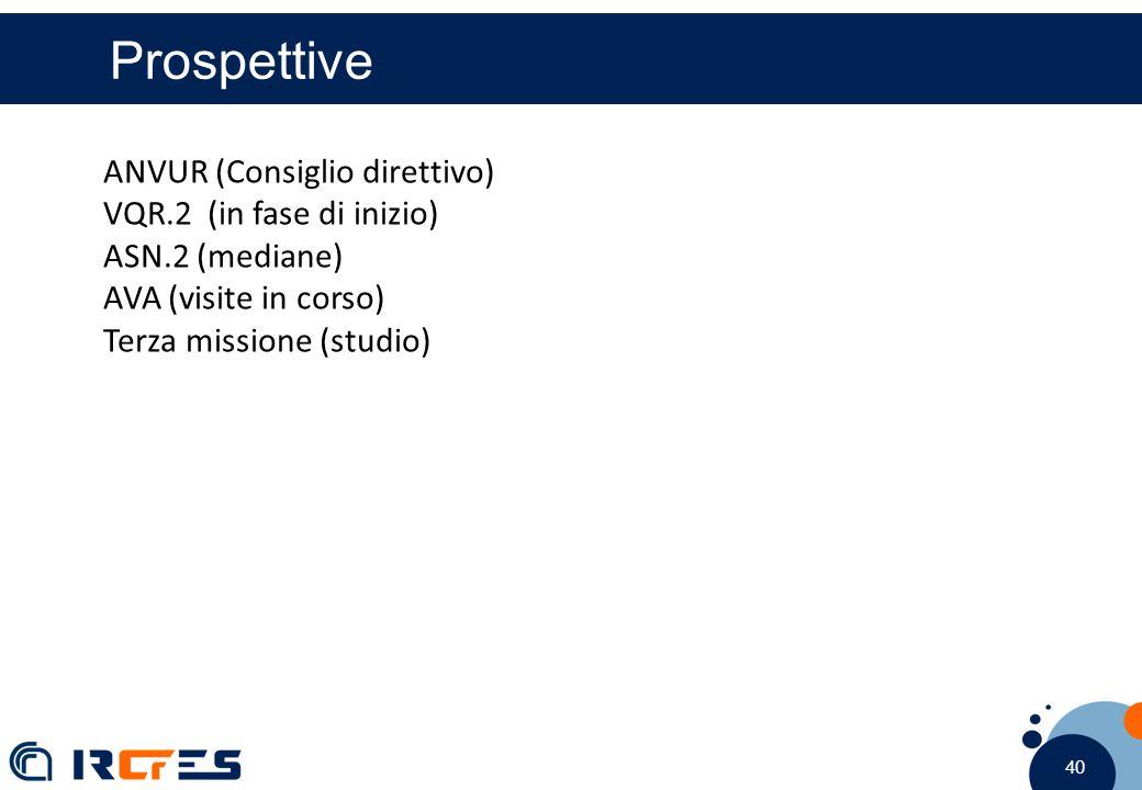 40 Prospettive ANVUR (Consiglio direttivo) VQR.2 (in fase di inizio) ASN.2 (mediane) AVA (visite in corso) Terza missione (studio)