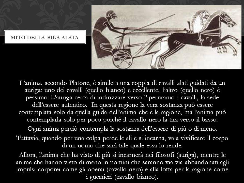 L'anima, secondo Platone, è simile a una coppia di cavalli alati guidati da un auriga: uno dei cavalli (quello bianco) è eccellente, l'altro (quello n