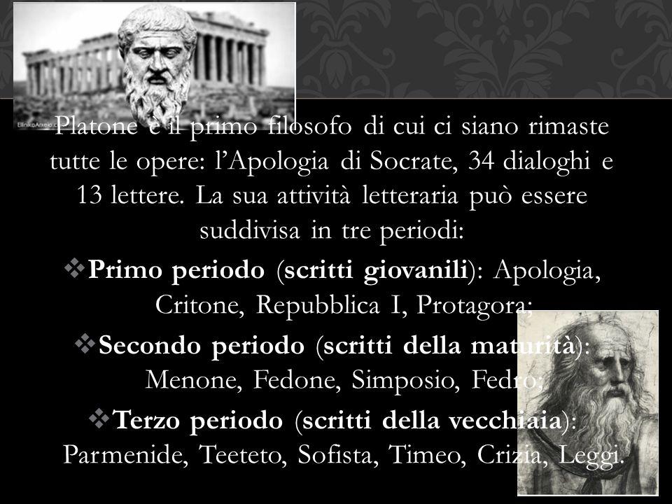 Platone è il primo filosofo di cui ci siano rimaste tutte le opere: l'Apologia di Socrate, 34 dialoghi e 13 lettere. La sua attività letteraria può es