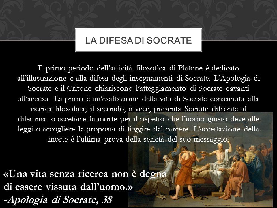 Il primo periodo dell'attività filosofica di Platone è dedicato all'illustrazione e alla difesa degli insegnamenti di Socrate. L'Apologia di Socrate e