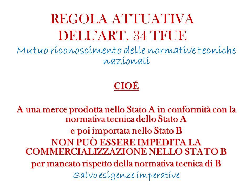 REGOLA ATTUATIVA DELL'ART. 34 TFUE Mutuo riconoscimento delle normative tecniche nazionaliCIOÉ A una merce prodotta nello Stato A in conformità con la