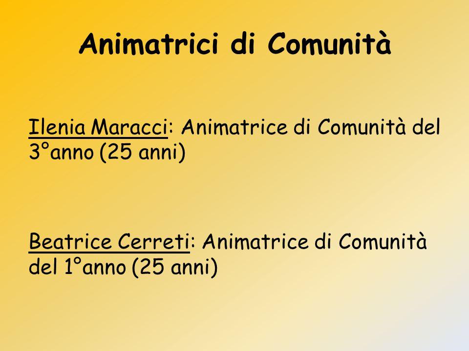 Animatrici di Comunità Ilenia Maracci: Animatrice di Comunità del 3°anno (25 anni) Beatrice Cerreti: Animatrice di Comunità del 1°anno (25 anni)