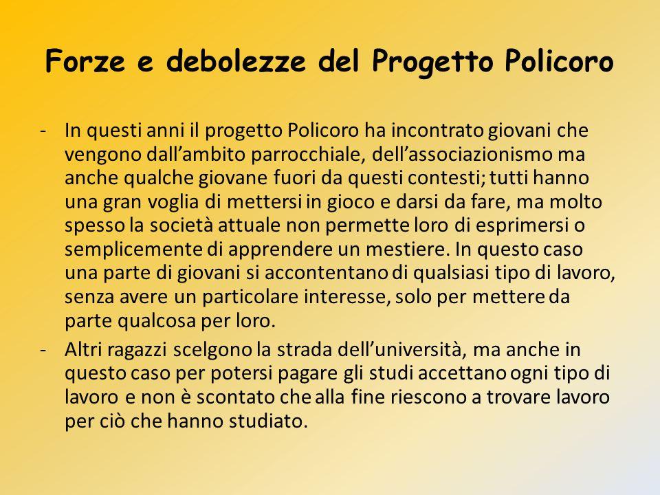 Forze e debolezze del Progetto Policoro -In questi anni il progetto Policoro ha incontrato giovani che vengono dall'ambito parrocchiale, dell'associaz