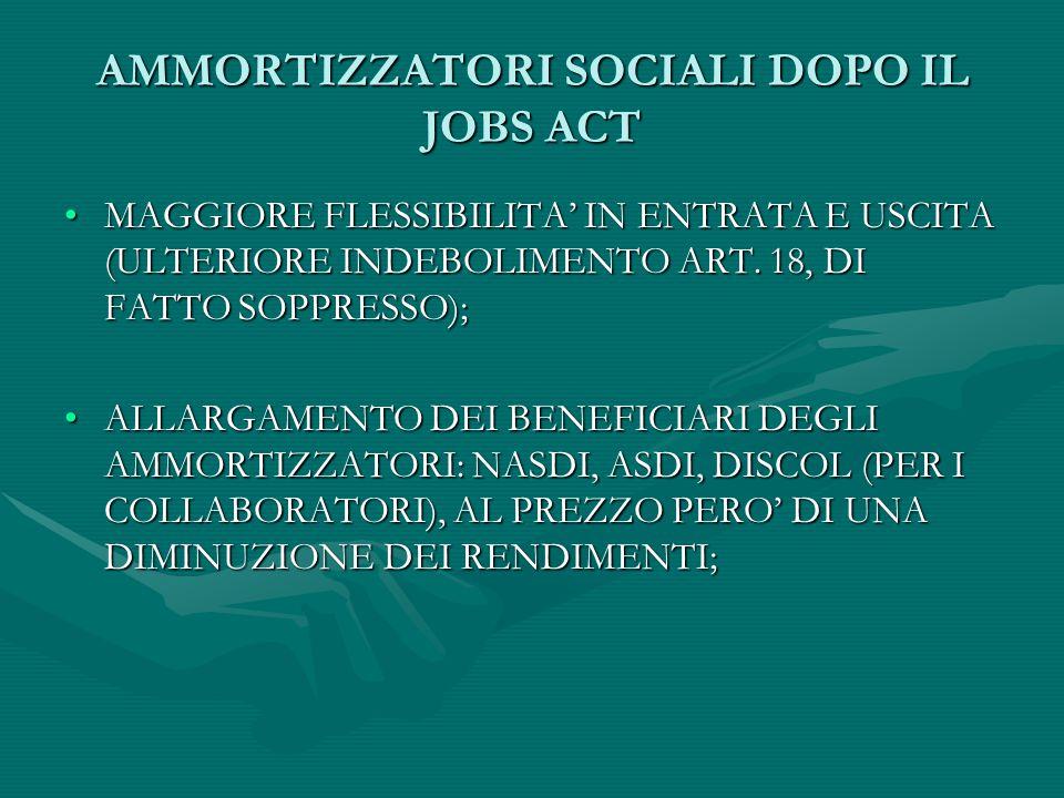 AMMORTIZZATORI SOCIALI DOPO IL JOBS ACT MAGGIORE FLESSIBILITA' IN ENTRATA E USCITA (ULTERIORE INDEBOLIMENTO ART. 18, DI FATTO SOPPRESSO);MAGGIORE FLES