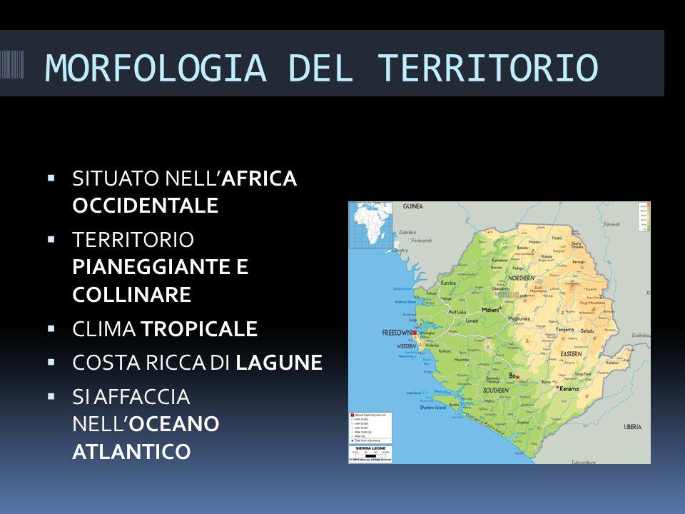 MORFOLOGIA DEL TERRITORIO  SITUATO NELL'AFRICA OCCIDENTALE  TERRITORIO PIANEGGIANTE E COLLINARE  CLIMA TROPICALE  COSTA RICCA DI LAGUNE  SI AFFACCIA NELL'OCEANO ATLANTICO