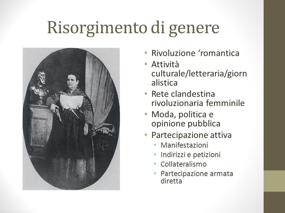 Risorgimento di genere Rivoluzione 'romantica Attività culturale/letteraria/giorn alistica Rete clandestina rivoluzionaria femminile Moda, politica e