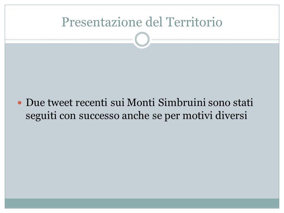 Presentazione del Territorio Due tweet recenti sui Monti Simbruini sono stati seguiti con successo anche se per motivi diversi