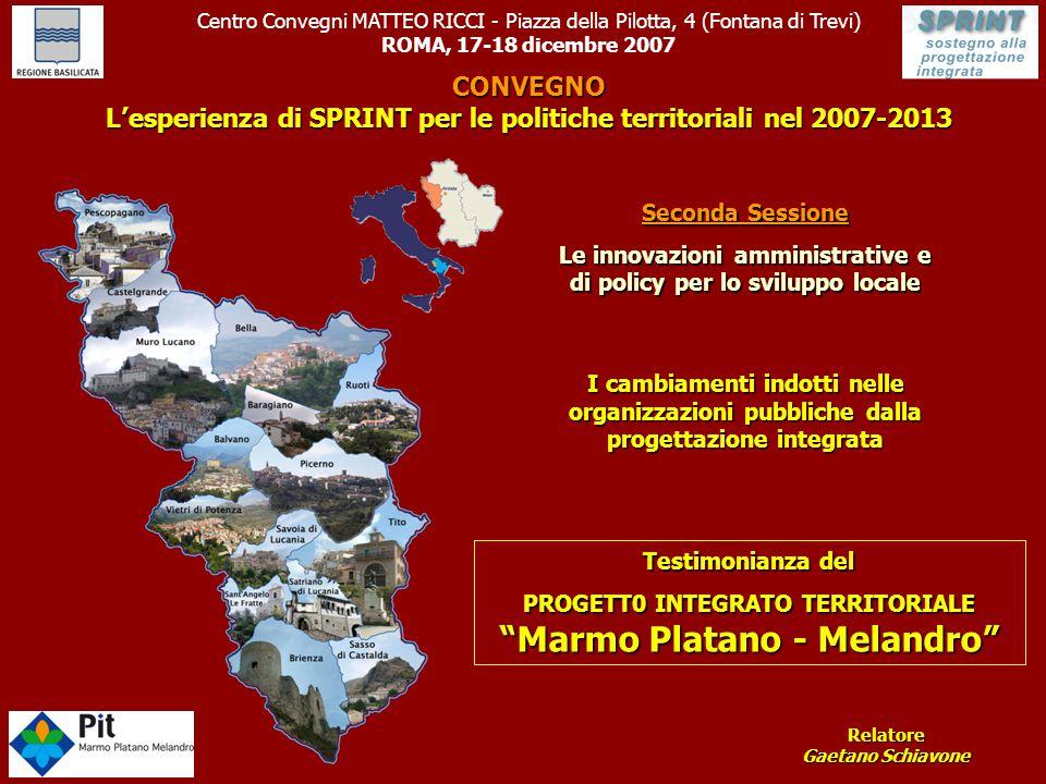 """Testimonianza del PROGETT0 INTEGRATO TERRITORIALE """"Marmo Platano - Melandro"""" Centro Convegni MATTEO RICCI - Piazza della Pilotta, 4 (Fontana di Trevi)"""