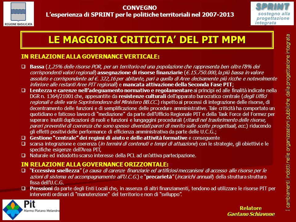 LE MAGGIORI CRITICITA' DEL PIT MPM IN RELAZIONE ALLA GOVERNANCE VERTICALE:  Bassa (1,25% delle risorse POR, per un territorio ed una popolazione che
