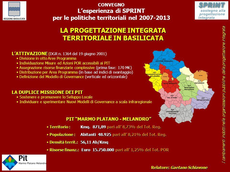 LA PROGETTAZIONE INTEGRATA TERRITORIALE IN BASILICATA CONVEGNO L'esperienza di SPRINT per le politiche territoriali nel 2007-2013 Relatore: Gaetano Sc