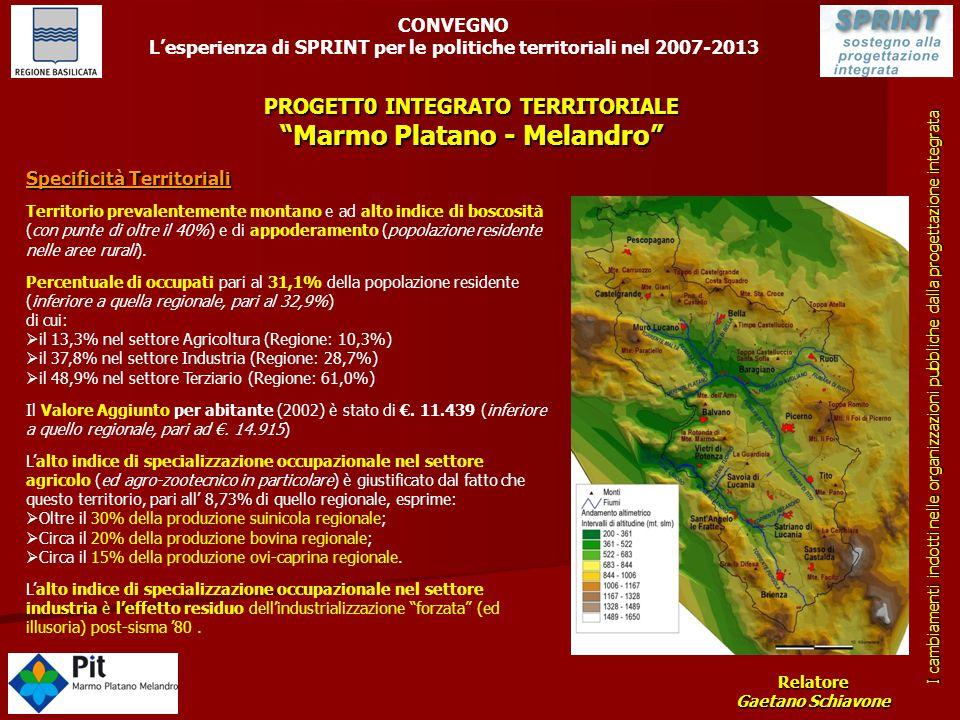 """PROGETT0 INTEGRATO TERRITORIALE """"Marmo Platano - Melandro"""" CONVEGNO L'esperienza di SPRINT per le politiche territoriali nel 2007-2013 Relatore Gaetan"""