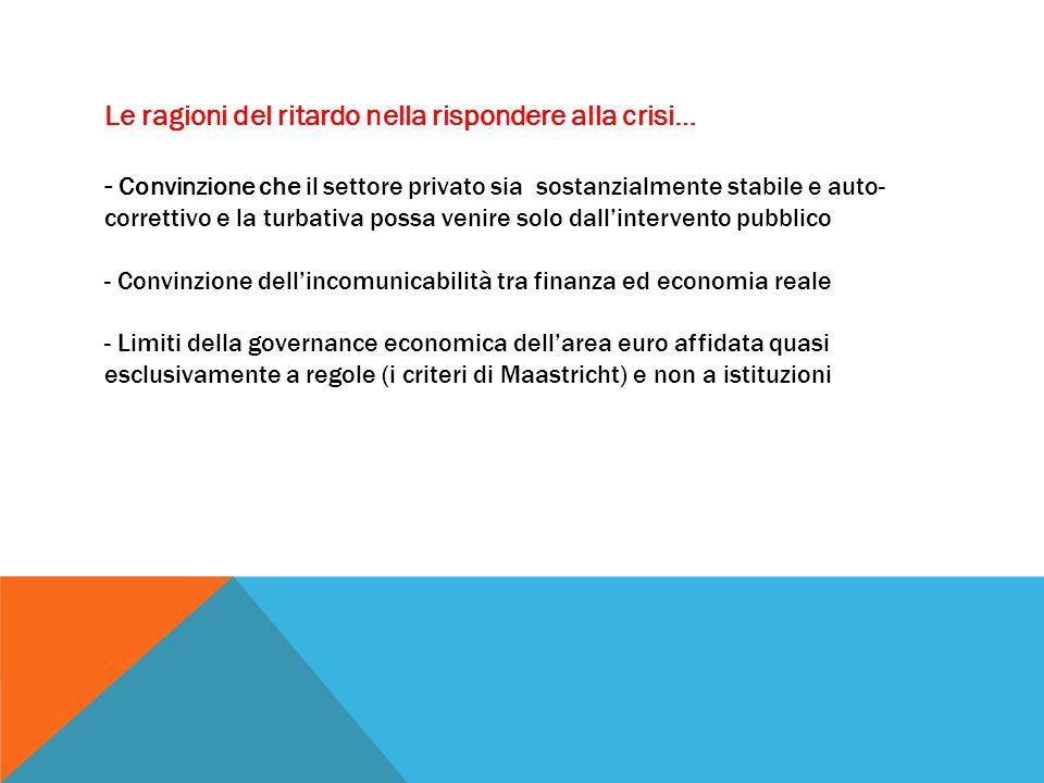 Le ragioni del ritardo nella rispondere alla crisi… - Convinzione che il settore privato sia sostanzialmente stabile e auto- correttivo e la turbativa possa venire solo dall'intervento pubblico - Convinzione dell'incomunicabilità tra finanza ed economia reale - Limiti della governance economica dell'area euro affidata quasi esclusivamente a regole (i criteri di Maastricht) e non a istituzioni
