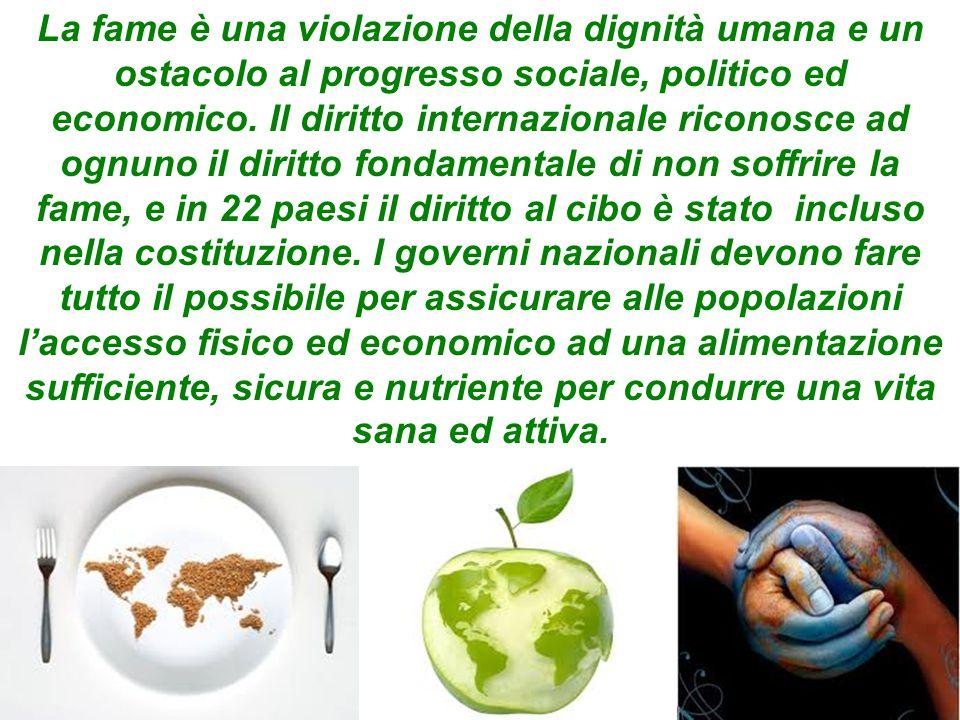 La fame è una violazione della dignità umana e un ostacolo al progresso sociale, politico ed economico. Il diritto internazionale riconosce ad ognuno