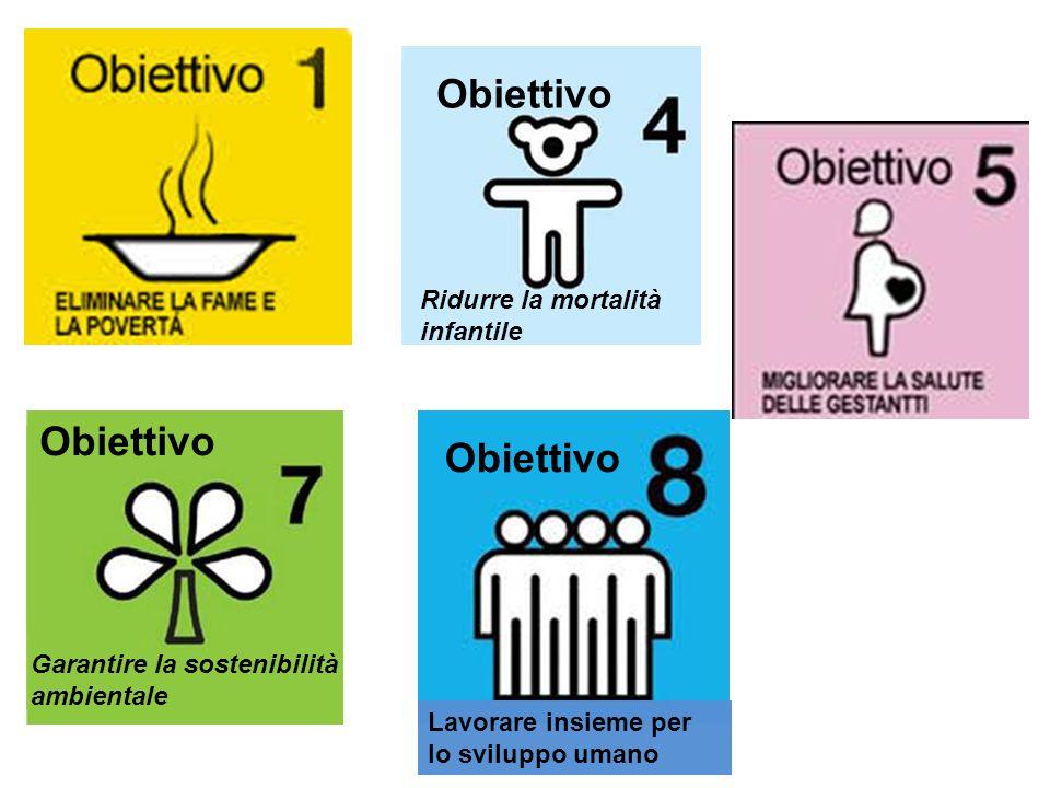 Ridurre la mortalità infantile Garantire la sostenibilità ambientale Obiettivo Lavorare insieme per lo sviluppo umano
