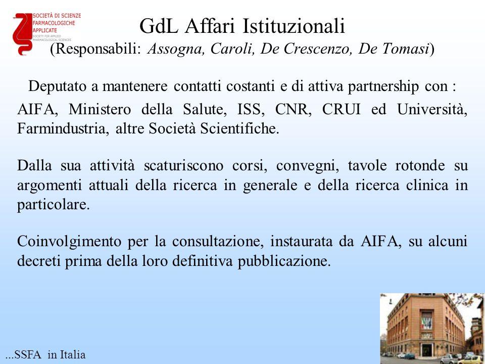GdL Affari Istituzionali (Responsabili: Assogna, Caroli, De Crescenzo, De Tomasi) Deputato a mantenere contatti costanti e di attiva partnership con :