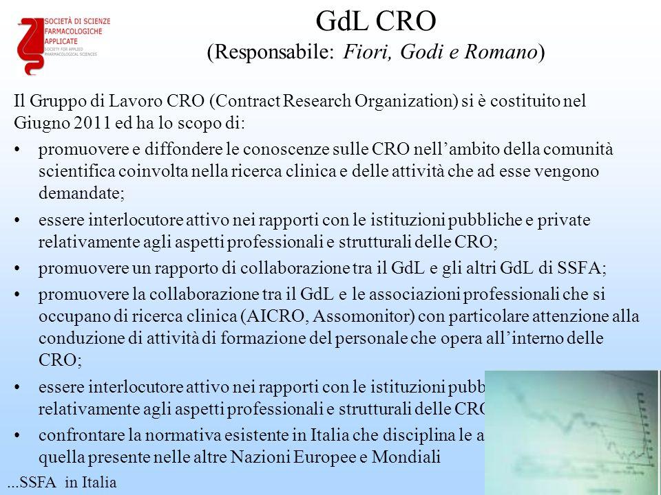 Il Gruppo di Lavoro CRO (Contract Research Organization) si è costituito nel Giugno 2011 ed ha lo scopo di: promuovere e diffondere le conoscenze sull