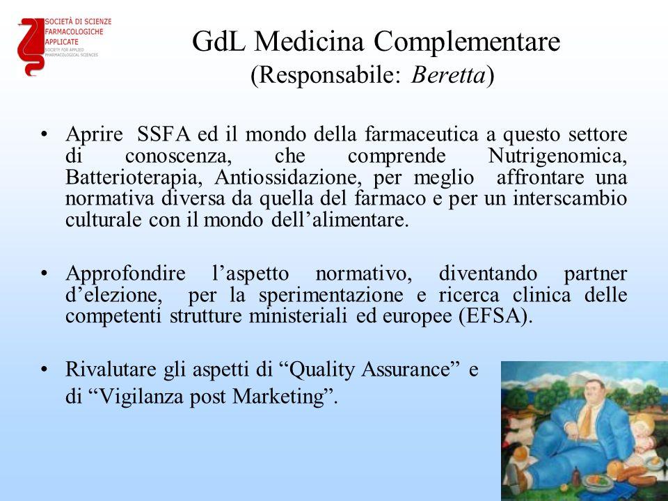 GdL Medicina Complementare (Responsabile: Beretta) Aprire SSFA ed il mondo della farmaceutica a questo settore di conoscenza, che comprende Nutrigenom