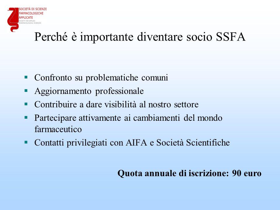 Perché è importante diventare socio SSFA  Confronto su problematiche comuni  Aggiornamento professionale  Contribuire a dare visibilità al nostro s