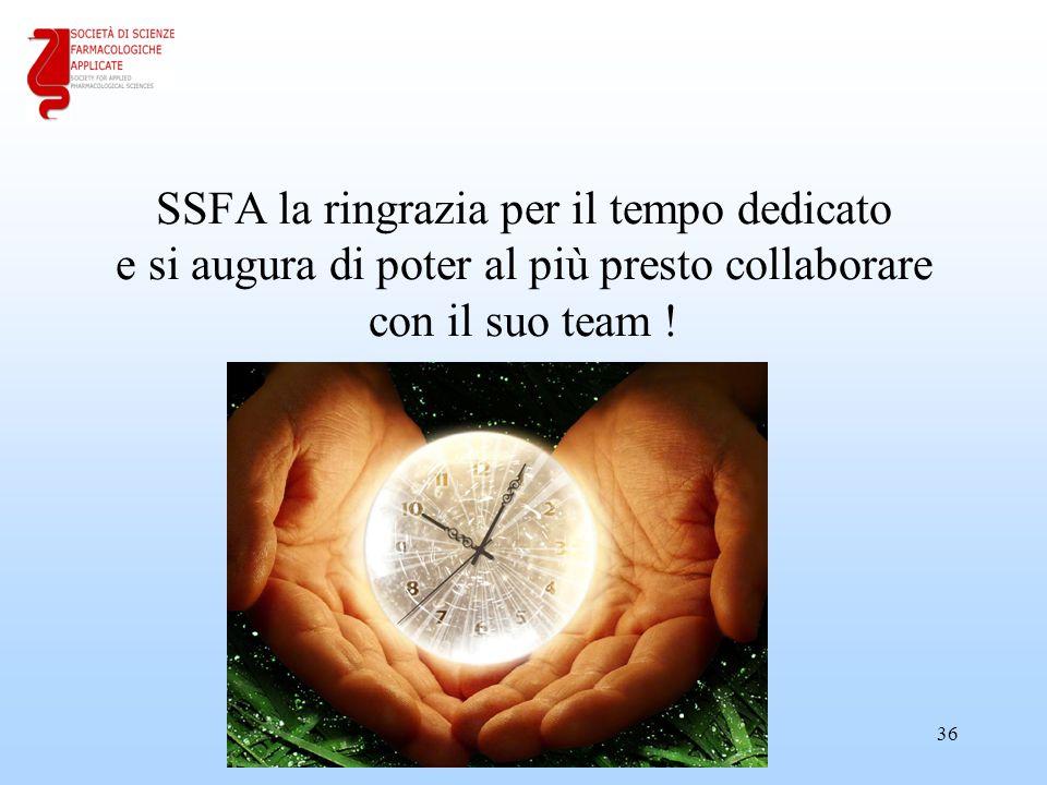 SSFA la ringrazia per il tempo dedicato e si augura di poter al più presto collaborare con il suo team ! 36