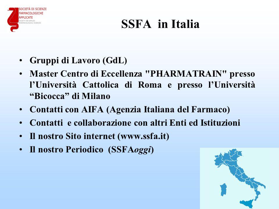 SSFA in Italia Gruppi di Lavoro (GdL) Master Centro di Eccellenza