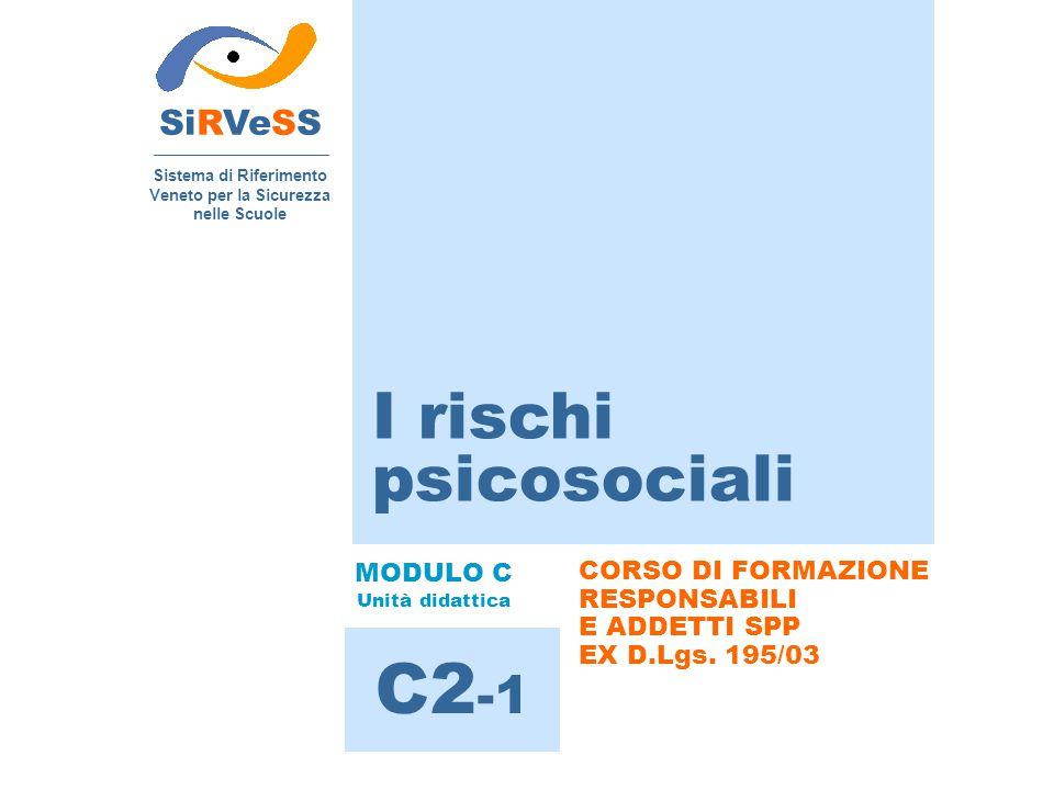 I rischi psicosociali SiRVeSS Sistema di Riferimento Veneto per la Sicurezza nelle Scuole C2 -1 MODULO C Unità didattica CORSO DI FORMAZIONE RESPONSAB