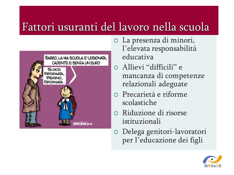 """Fattori usuranti del lavoro nella scuola  La presenza di minori, l ' elevata responsabilit à educativa  Allievi """" difficili """" e mancanza di competen"""