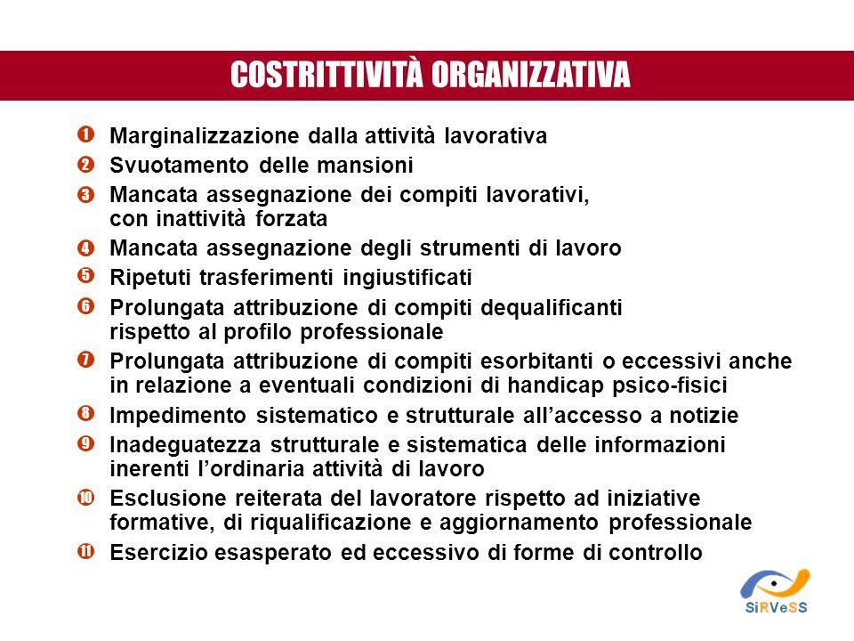 COSTRITTIVITÀ ORGANIZZATIVA Marginalizzazione dalla attività lavorativa Svuotamento delle mansioni Mancata assegnazione dei compiti lavorativi, con in