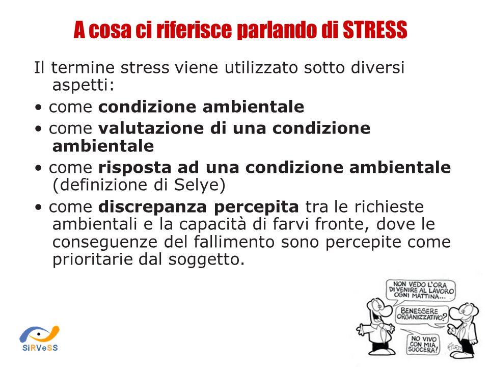 A cosa ci riferisce parlando di STRESS Il termine stress viene utilizzato sotto diversi aspetti: come condizione ambientale come valutazione di una co