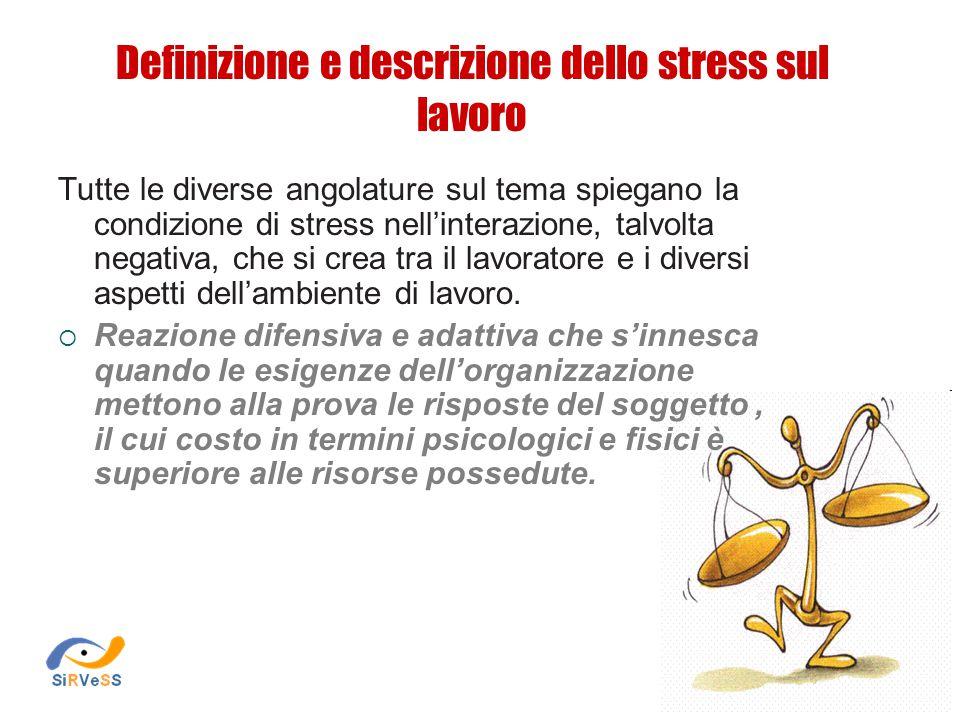 Definizione e descrizione dello stress sul lavoro Tutte le diverse angolature sul tema spiegano la condizione di stress nell'interazione, talvolta negativa, che si crea tra il lavoratore e i diversi aspetti dell'ambiente di lavoro.