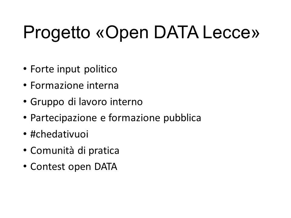 Progetto «Open DATA Lecce» Forte input politico Formazione interna Gruppo di lavoro interno Partecipazione e formazione pubblica #chedativuoi Comunità di pratica Contest open DATA