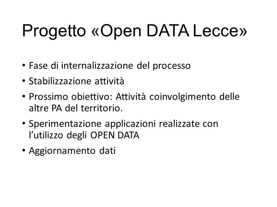 Progetto «Open DATA Lecce» Fase di internalizzazione del processo Stabilizzazione attività Prossimo obiettivo: Attività coinvolgimento delle altre PA del territorio.